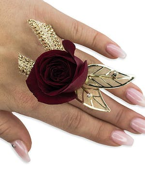 Ruby Metallic Floral Ring