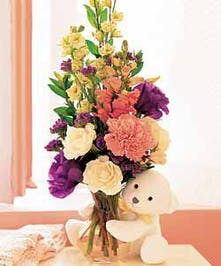 of Fresh Flowers with Cuddly Teddy Bear Included!