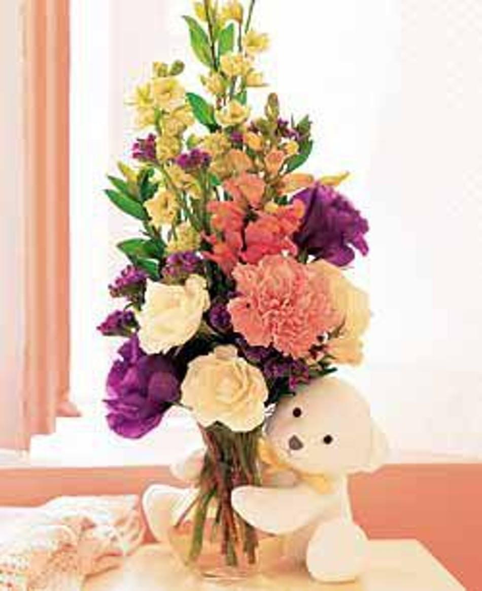Bear Hug Of Fresh Flowers With Cuddly Teddy Bear Included Mobile